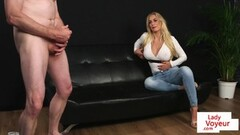 Busty voyeur babe flashing tits in JOI Thumb