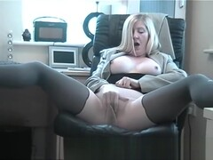 big tits slut secretary is a cock teaser in her stockings effect pantyhose fingering her cunt Thumb