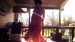 Pregnant Young Mom Emily in See through Dress on Hidden Cam Thumb