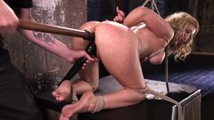 Blonde bdsm sub toyed in pussy while hogtied by maledom Thumb