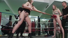Tied up blonde gangbang in boxing gym Thumb