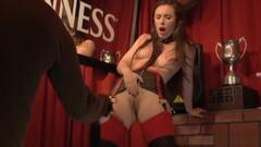 Slut in leather lingerie in public Thumb