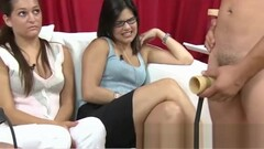 Cfnm girls laughs at guy playing with a cock pump Thumb