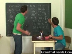 Nasty old teacher is nailed by two young students Thumb