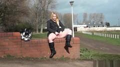 Blonde voyeur babe Sophie Keagan public flashing and upskirt Thumb