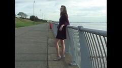 Cute Leggy brunette teases long legs silver high heel shoes Thumb