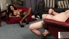 Stockinged british voyeur watches her sub tug Thumb