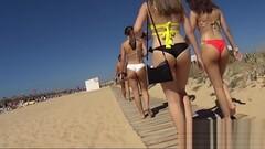 Amazing Teen Ass close-up bikini voyeur beach Thumb
