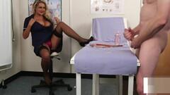 Bigtitted nurse voyeur encouraging sub to tug Thumb