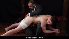 Hung Priest daddy spanks jock butt bent over knee Thumb