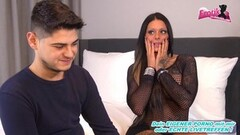 Peinlich german guy loose at casting with brunette teen Thumb