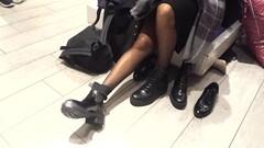 gf's boot shopping pantyhosed legs feets Thumb
