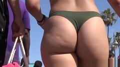Amazing Big Ass Teen Thong Bikini Beach Voyeur Closeup Thumb