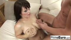 Hot brunette Kristi Klenot gets fucked on the couch Thumb