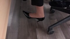 co worker with nylon socks and high heels. Thumb