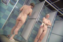 Real public showers with hidden cam set inside Thumb
