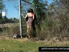 Girl Fucked Hard Outdoors Against A Fence Thumb