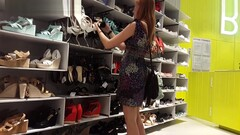 Candid Upskirt Shows Of Redhead Tries The Shoes On Thumb