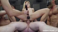Hot blonde gets gangbanged by the cocksmen Thumb