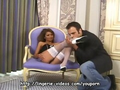 MILF in a bustier and white stockings having sex Thumb