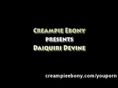 Amateur Ebony Filled with Creamy Cum Thumb